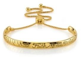 "Unwritten Faith"" Gold Tone Adjustable Bolo Bracelet"