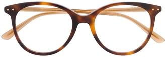 Bottega Veneta Round-Frame Tortoiseshell-Effect Glasses