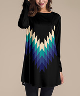 Nanu Women's Tunics Black - Black & Blue Multicolor Geometric Long-Sleeve Tunic - Women & Plus