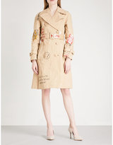 Moschino Ladies Brown Box-Print Faux-Suede Trench Coat