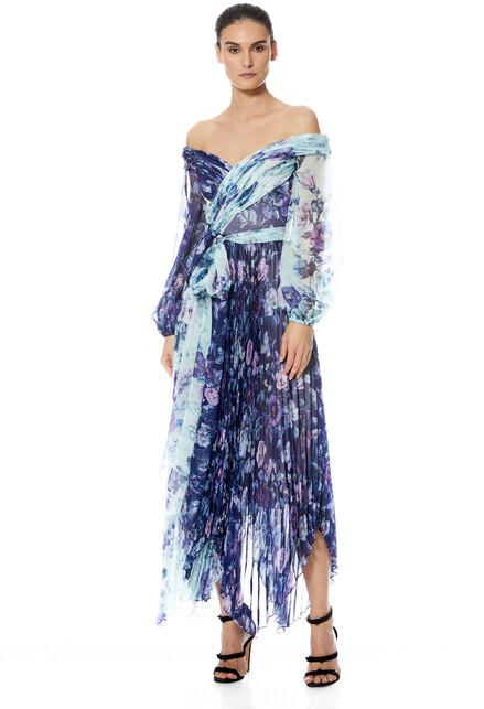 Theia Lennon Handkerchief Wrap Dress