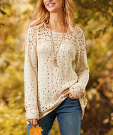 Suzanne Betro Women's Cardigans 101WINTER - Winter White Crochet Boatneck Sweater - Women & Plus