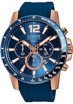Lorus Rt392ex9 Chronograph Date Silicone Strap Watch, Blue