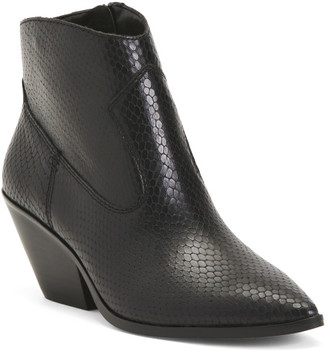 Leather Snake Embossed Booties