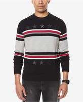 Sean John Men's Stripe Sweater with Faux-Leather Stars