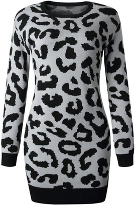 Goodnight Macaroon 'Denise' Leopard Print Long Sweater Dress (4 colors)