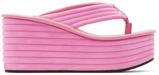 Fendi Pink Suede Promenade Sandals