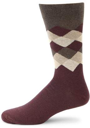 Saks Fifth Avenue Made In Italy Diamond Fade Mid-Calf Socks