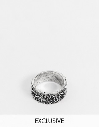 Reclaimed Vintage inspired ring with croc texture in silver