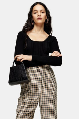 Topshop Womens Black Square Neck Ribbed Knitted Top - Black