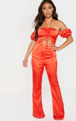 PrettyLittleThing Petite Red Satin Wide Leg Trouser