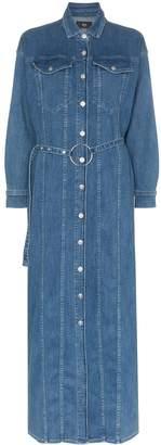 3x1 Tessa belted denim maxi dress