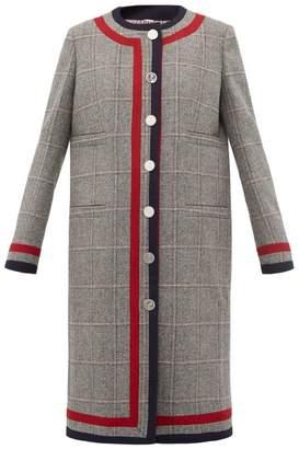 Thom Browne Fine Checked Nautical Wool Overcoat - Womens - Grey Multi