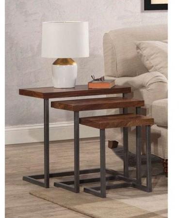 Hillsdale Furniture Emerson Nesting Tables - Set of 3, Natural Sheesham Wood / Gray Metallic