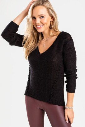 francesca's Kellie Lace-Up Sweater - Black