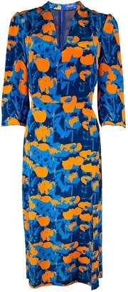 Joe Noe Annie Dress - Midi Long Sleeve - Orange Tulip Print