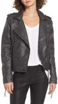 BLANKNYC Denim Faux Leather Moto Jacket