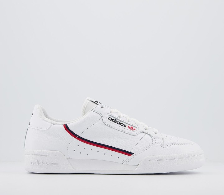 adidas 80s Continental Trainers White White Scarlet Navy