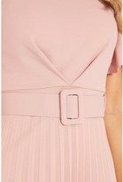 Quiz Frill Front Pleated Midi Dress with Belt - Blush Pink