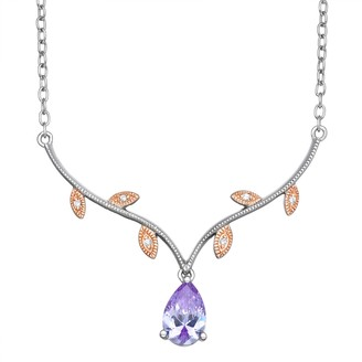 Lily & Lace Two-Tone Cubic Zirconia Leaf Necklace