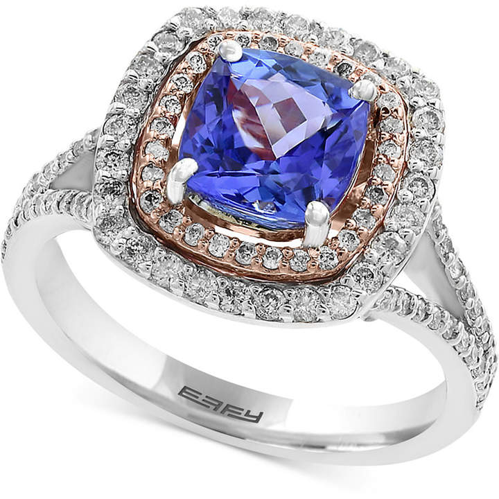 Effy Final Call Tanzanite (1-5/8 ct. t.w.) and Diamond (3/4 ct. t.w.) Ring in 14k White and Rose Gold