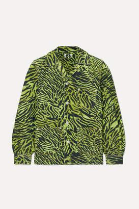 Ganni Oversized Tiger-print Denim Jacket - Green