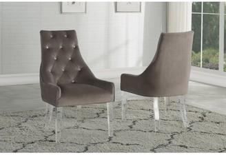 Everly Quinn Julianne Tufted Velvet Upholstered Parsons Chair in Gray