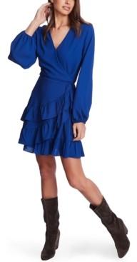 1 STATE Ruffled Wrap Mini Dress