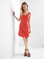 Linen print sleeveless dress