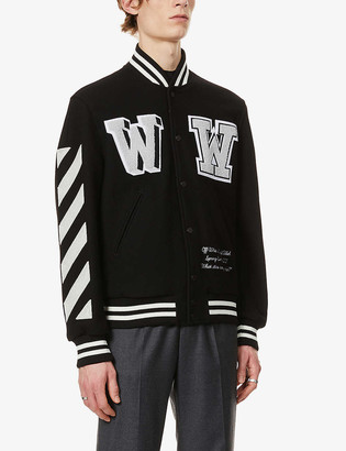 Off-White Brand-embroidered wool-blend varsity jacket
