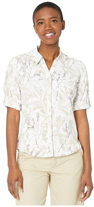 Royal Robbins Expedition Print 3/4 Sleeve Shirt (Grain) Women's Long Sleeve Button Up