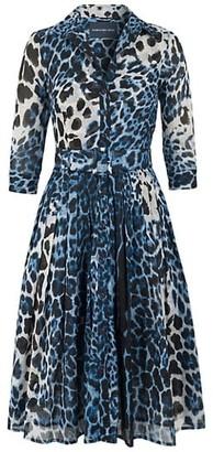 Samantha Sung Audrey Leopard-Print Belted Shirtdress