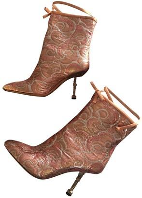 Miu Miu Pink Cloth Ankle boots