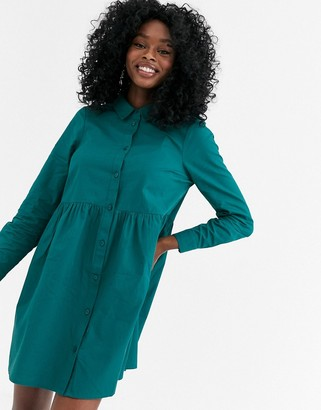 ASOS DESIGN cotton mini smock shirt dress in forest green