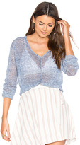 White + Warren Rib V Neck Sweater in Blue