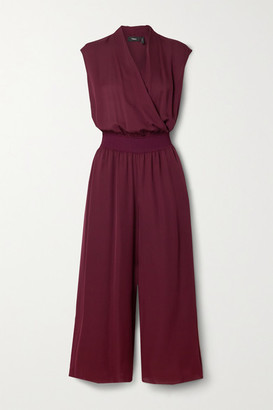 Theory Cropped Wrap-effect Silk Crepe De Chine Jumpsuit - Burgundy