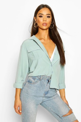 boohoo Woven Pocket Detail Shirt