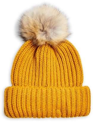 Topshop Faux Fur Pom-Pom Rib-Knit Beanie