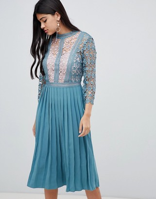 Little Mistress lace sleeve pleated midi dress in aqua