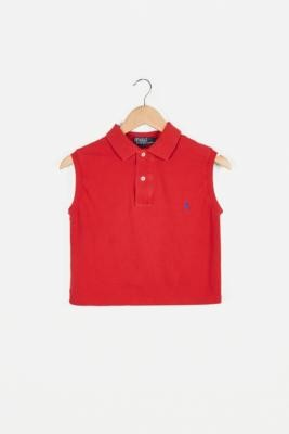 Urban Renewal Vintage Remade From Vintage Red Branded Sleeveless Polo Shirt - Red M/L at Urban Outfitters