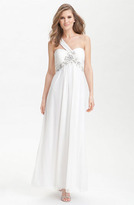 Xscape Evenings One Shoulder Embellished Mesh Gown