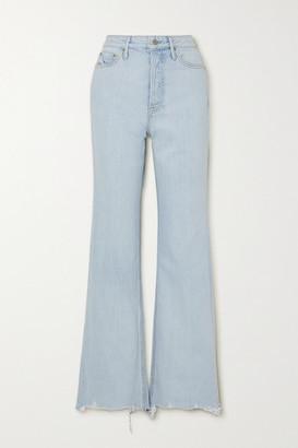 GRLFRND Carla Distressed High-rise Straight-leg Jeans - Light denim