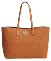 Tory Burch Duet Woven Leather Tote - Brown