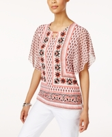 JM Collection Petite Printed Flutter-Sleeve Tunic, Created for Macy's