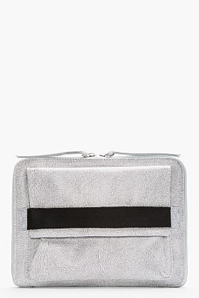 Maison Martin Margiela Grey Leather Fur-Embossed Clutch