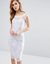 Paper Dolls Sweetheart Pencil Dress With Lace Overlay