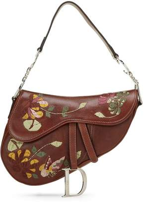 Christian Dior Brown Floral Embroidered Leather Saddle Bag