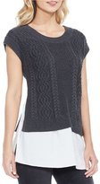 Vince Camuto Short Sleeve Layered Look Pullover Top