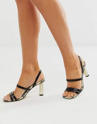 Office Masquerade black snake mix strappy heeled sandals with gold cylinder heel