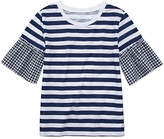 Arizona Stripe Top with Gingham Bell Sleeve - Girls' 4-16 & Plus